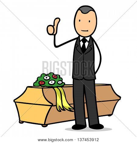 Cartoon undertaker with coffin holding his thumbs up