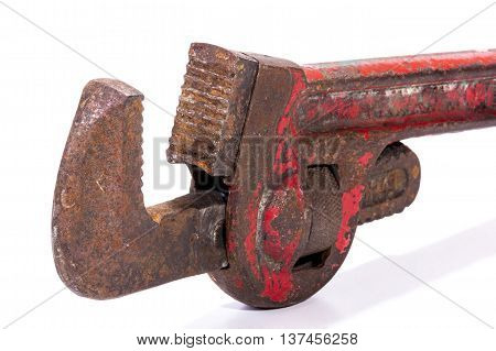 Vertical Upright Old Neglected Rusty Red Monkey Wrench Spanner