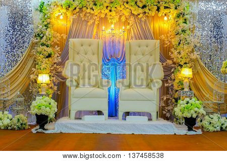 Colorful themed wedding stage.Malay Traditional Wedding.Islamic Traditional Wedding.