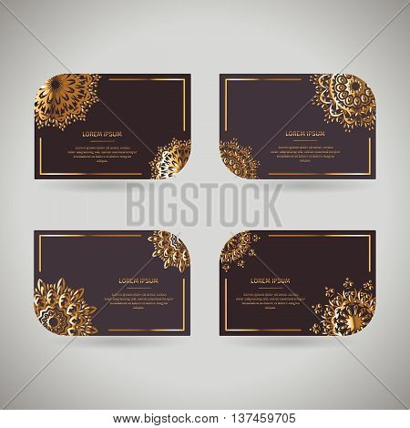 Set of four оrnamental gold cards with flower oriental mandala on dark background. Ethnic vintage pattern. Indian asian arabic islamic ottoman motif. Vector illustration under clipping mask.
