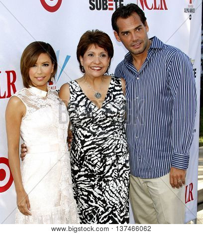Eva Longoria, Cristian de la Fuente and Janet Murguia at the 2008 ALMA Awards Nominees Announcement held at the Wisteria Lane, Universal Studios in Hollywood, USA on July 21, 2008.