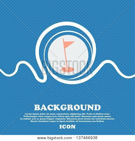 Flag Hole Sign Icon. Sport Symbol. Blue And White Abstract Background Flecked With Space For Text An