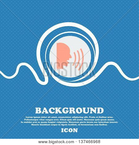 Talking Flat Modern Web Icon. Blue And White Abstract Background Flecked With Space For Text And You