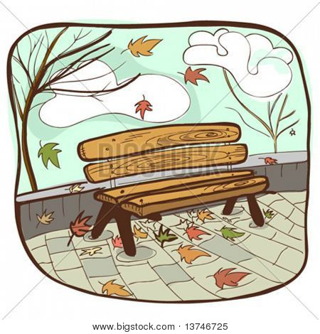 autumun bench vector