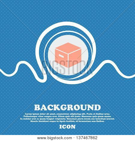 Packaging Cardboard Box Icon Sign. Blue And White Abstract Background Flecked With Space For Text An
