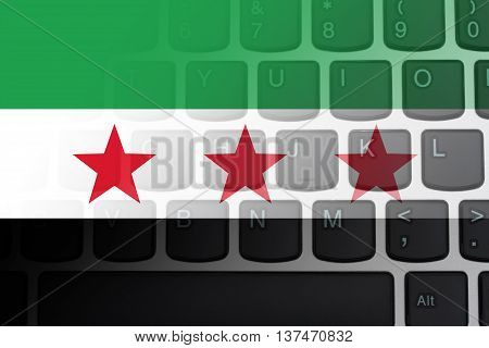 Restricted Internet access in Syria The South Syrian flag on a computer keyboard, 3D Illustration