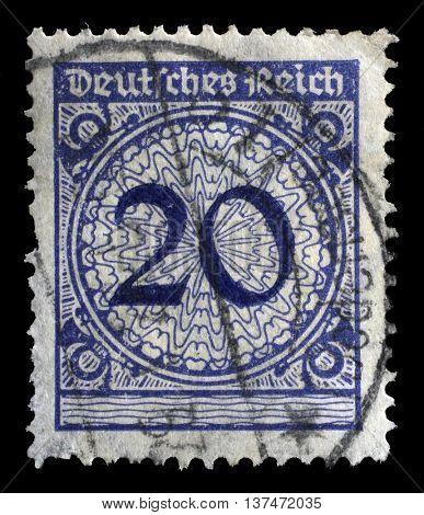 ZAGREB, CROATIA - JUNE 22: A stamp printed in Germany shows 20 marks, circa 1924, on June 22, 2014, Zagreb, Croatia
