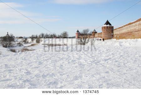 River And Brick Wall