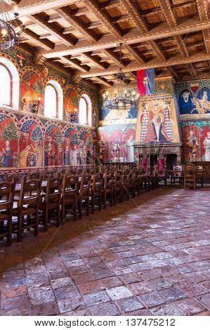 Calistoga California - May 10 : Interior detail of the dining room of the Castello Di Amorosa May 10 2015 Calistoga California.