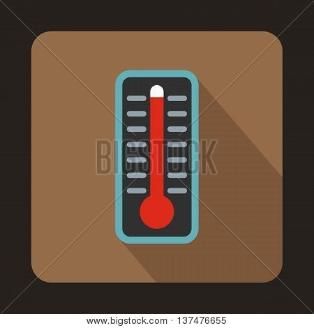 Thermometer indicates extremely high temperature icon in flat style on a coffee background