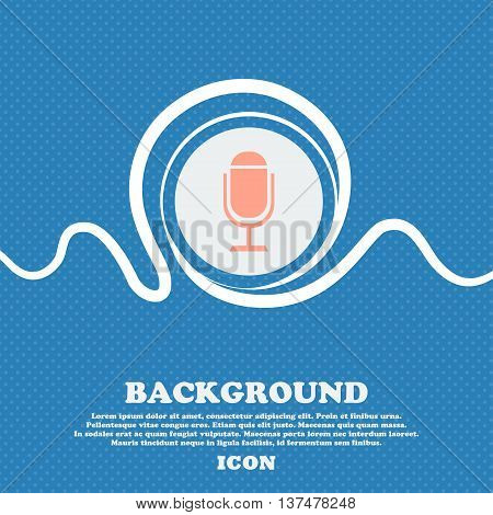 Microphone Icon. Speaker Symbol. Live Music Sign. Blue And White Abstract Background Flecked With Sp