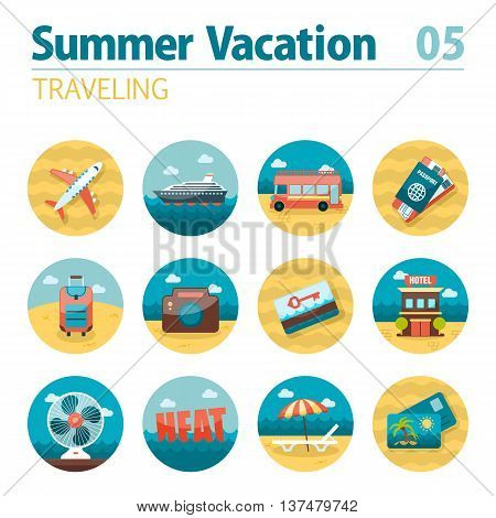 Traveling vector icon set. Summer time. Vacation, eps 10