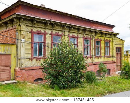 The old wooden house on the Shevchenko Street. Yelets Lipetsk region Russia.