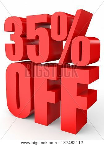 Discount 35 Percent Off. 3D Illustration On White Background.