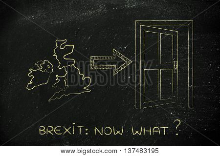 Uk Next To An Exit Door With Arrow, Brexit Now What