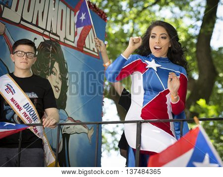 NEW YORK: Stephanie Llanes as the character La Borinquena, a new Puerto Rican female superhero created by Edgardo Miranda-Rodriguez, at the 59th National Puerto Rican Day Parade in NYC, June 12 2016.