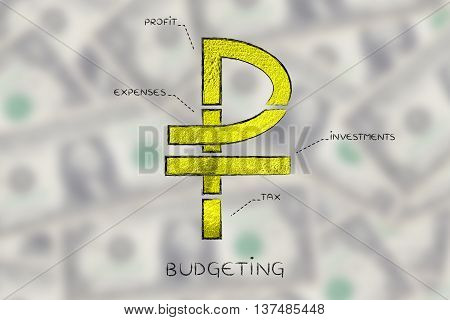 Split Ruble Currency Symbol With Budgeting Captions