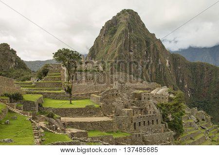 Ruins Of Lost Incan City Machu Picchu And Wayna Picchu Near Cusco In Peru