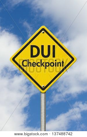 Yellow Warning DUI Checkpoint Highway Road Sign Red Yellow Warning Highway Sign with words DUI Checkpoint with sky background, 3D Illustration