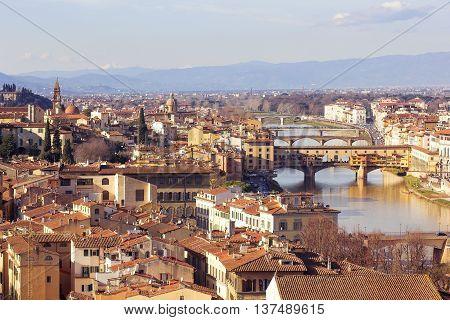 panoramic view of old Florence from Piazzale Michelangelo, Tuscany, Italy