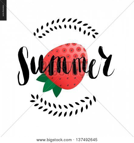 Summer lettering and strawberry - a vector cartoon black brush hand written lettering Summer