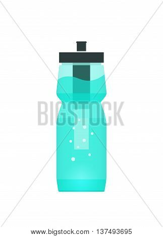 Water filtration bottle illustration for sport and travel, concept of portable filtering technology, purification device tool, filter cup, modern flat icon design isolated on white