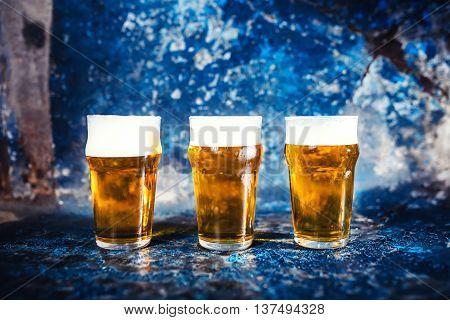 Beer Glasses, Draught Light Beers Served At Pub, Restaurant Or Nightclub