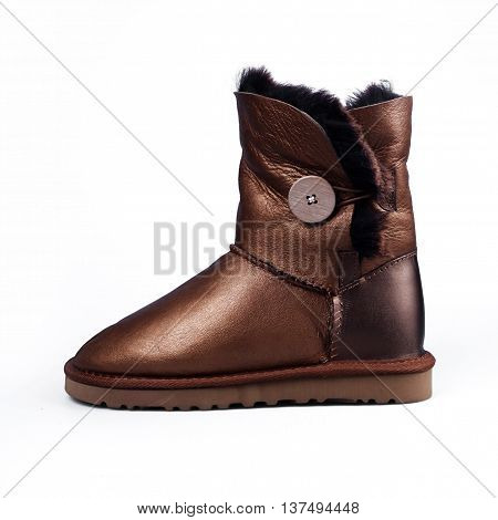 female winter fur boots in white background