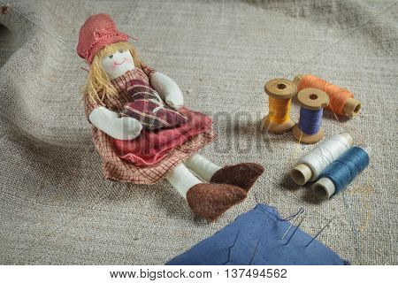 Rag Doll And Sewing Items