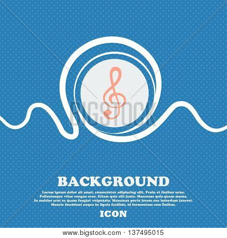 Treble Clef Icon. Blue And White Abstract Background Flecked With Space For Text And Your Design. Ve