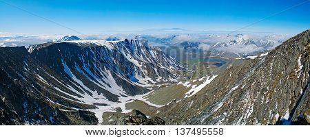 Landscape of Polar Ural mountains,  Nature background