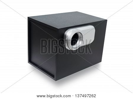 Black sound speaker, Sub woofer speaker bass isolated on a white background with clipping path