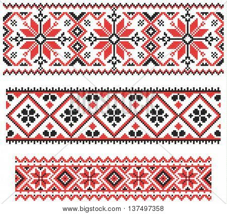 three seamless red embroidered good like old handmade cross-stitch ethnic Ukraine pattern. Ukrainian ornament in vector