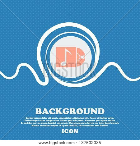 Cd Player Icon Sign. Blue And White Abstract Background Flecked With Space For Text And Your Design.