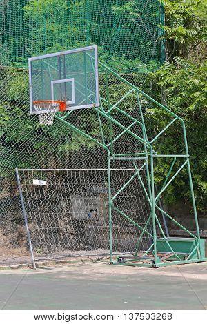 Basketball Hoop Backboard at Outdoor Sports Court