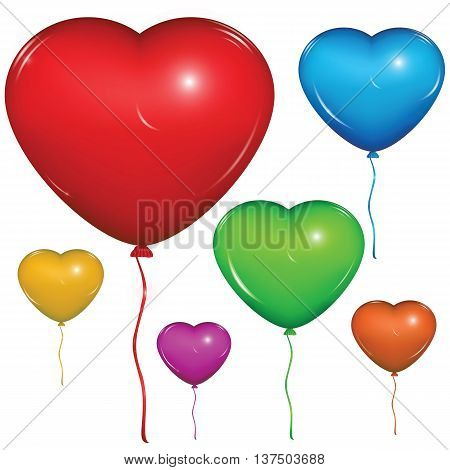 Set of shiny vector heart balloons: red green blue purple orange yellow. Isolated on white background.