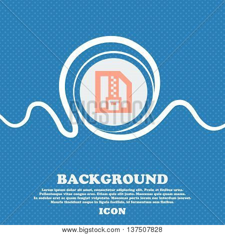 Archive File, Download Compressed, Zip Zipped  Sign Icon. Blue And White Abstract Background Flecked