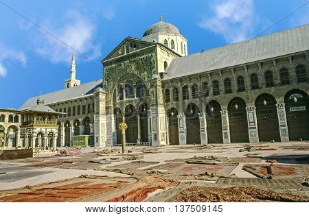 The Omayyad Mosque With Clear Blue Sky