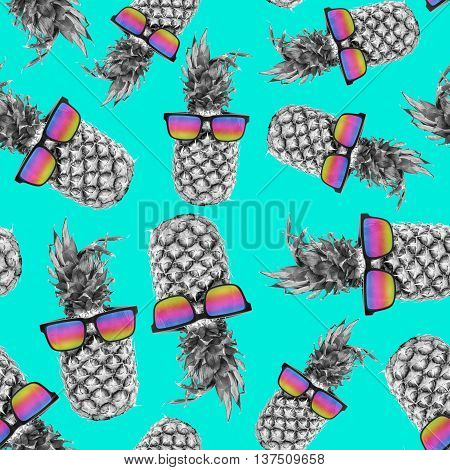 Summer Pineapple With Sunglasses Color Background