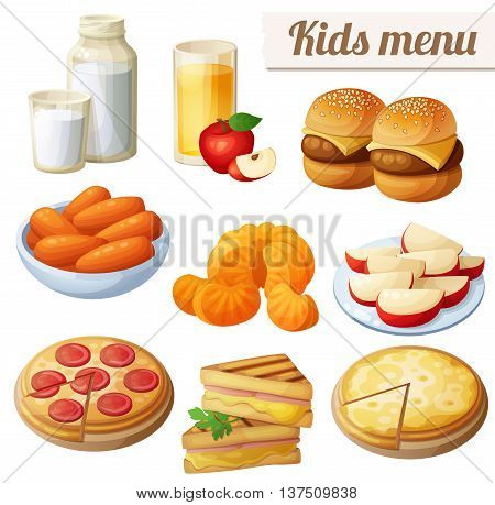 Kids menu. Set of cartoon vector food icons isolated on white background. Milk, apple juice, burger sliders, baby carrots, mandarin oranges, apple slices, pepperoni and cheese pizza, grilled sandwich bites