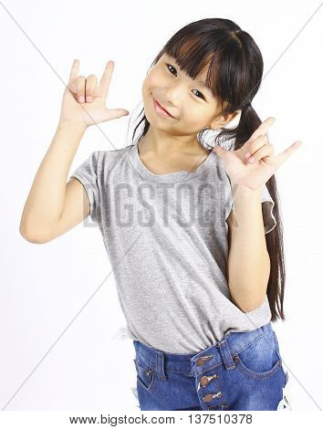 Asian girl show love sign hand on white background