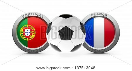 Emblems - Flags of Portugal and France with football - isolated on white represents final soccer game three-dimensional rendering 3D illustration
