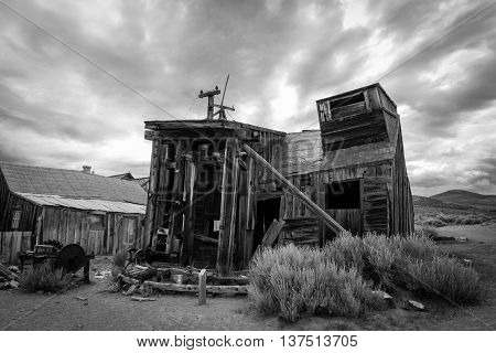 An abandoned building at the ghost town of Bodie, California.