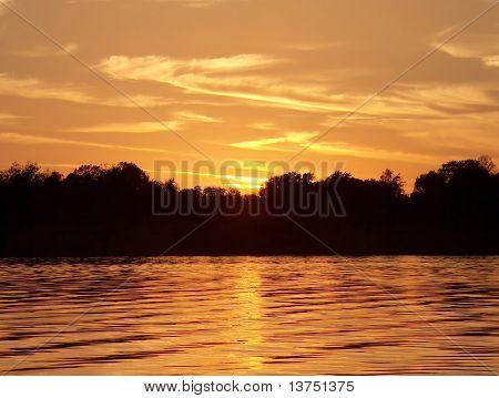 Beautiful sunset over a Florida Lake