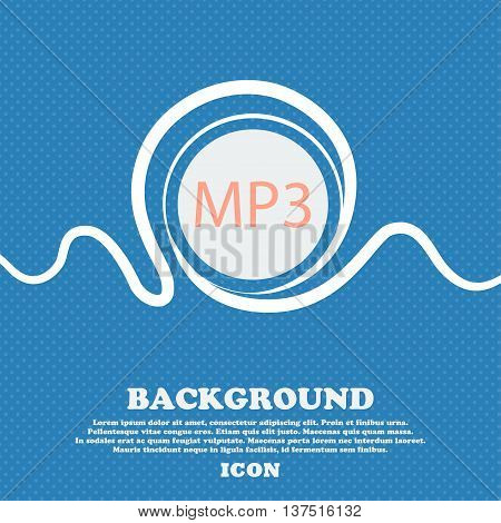 Mp3 Music Format Sign Icon. Musical Symbol. Blue And White Abstract Background Flecked With Space Fo