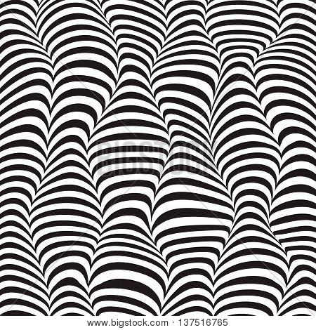Vector illustration of wave striped textured monochrome background in 3d fashion style. Geometric modern template with bkack and white curve move zebra line for abstract pattern.