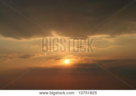 Beautiful sunset with rays