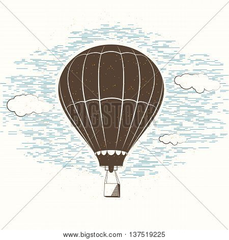 Vector illustration of retro textured journal travel background with balloon, sky, clouds.