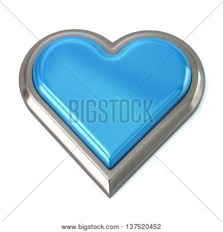 3D Illustration Of Blue Heart Button