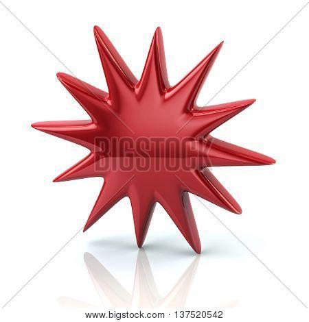 3D Illustration Of Red Bursting Star Icon